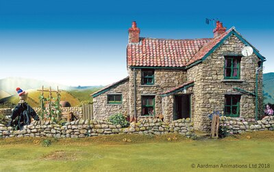 「牧場主の家」は、中に入って見学可能。牧場主のソファの横に座って撮影しよう!