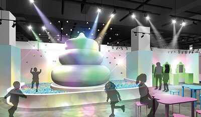 【写真をすべて見る】巨大うんこオブジェから、定期的にうんこが噴火! 飛び出たうんこが詰まった便器型プールで遊べる。うんこ型のテーブルとイスが並ぶ休憩スペースも。