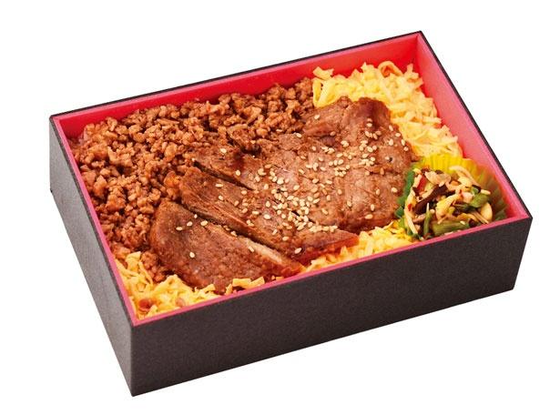 牛ステーキ重(1150円)。牛肉の旨味を一つで二度味わえる/旅弁当 駅弁にぎわい