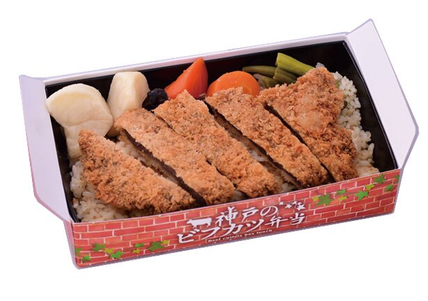 神戸のビフカツ弁当(1100円)。本格ドミグラスソースが駅弁を洋食店の味わいに/淡路屋コンコース2階売店