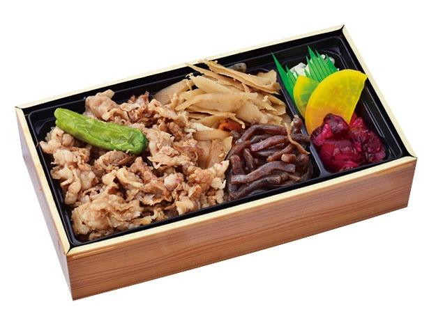 但馬牛 牛めし弁当(1180円)。脂の旨味を含んだ甘辛ダレがご飯まで/旅弁当新神戸