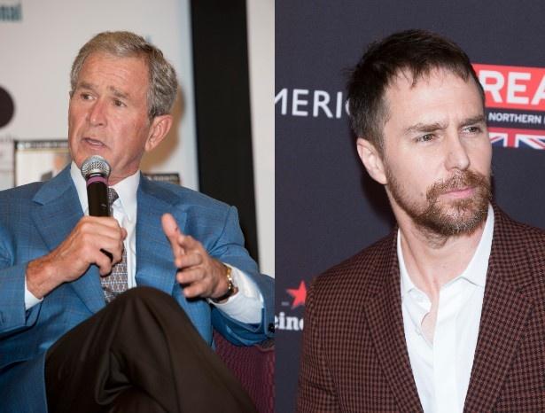 ブッシュ元大統領とサム・ロックウェル。素顔はあんまり似ていないのに…