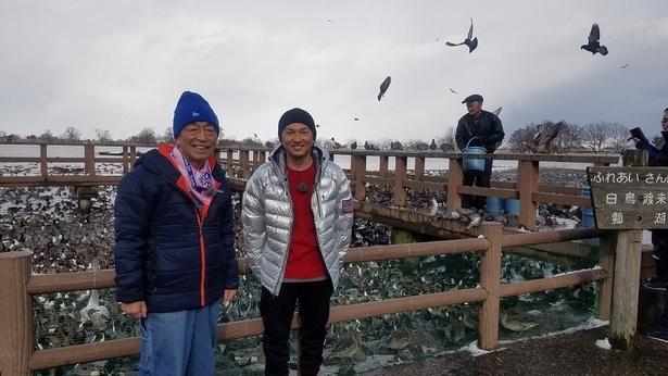 志村けんとISSAが白鳥の飛来する湖を調査!