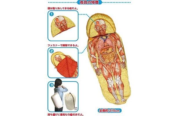 こちらは「人体模型寝袋」
