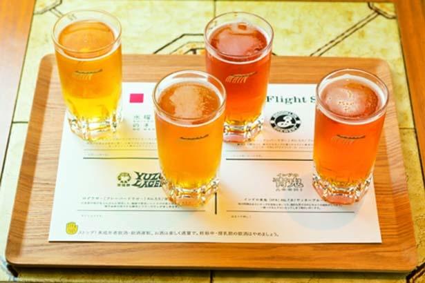 クラフト生ビール飲み比べセット(2000円)。小サイズで4種が味わえる(種類は変更の場合あり)/UDON MAIN