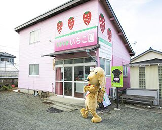 ピンクの建物とイチゴのイラストがキュートな外観。一緒に写っているのは平塚市産の農産物をPRするキャラクターのベジ太