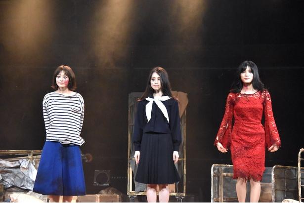(写真左より)太田奈緒さん、岩立沙穂さん、谷口めぐさん/舞台「山犬」ゲネプロより