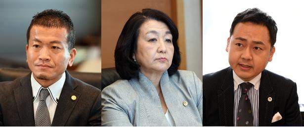弁護士役として住田裕子弁護士(中央)、清原博弁護士(左)、角田龍平弁護士(右)が出演
