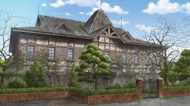 「唐津市歴史民俗資料館」(第1話より)。劇中ではフランシュシュが日々、歌とダンスの練習に励んだ