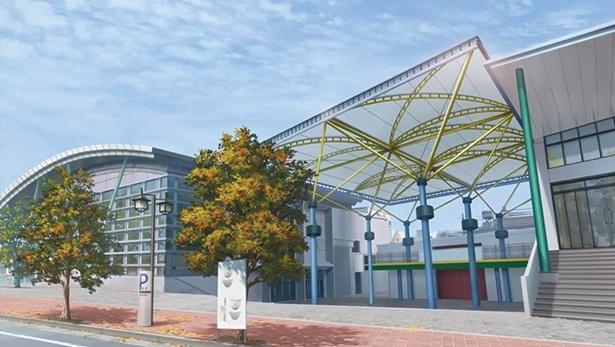 「唐津市ふるさと会館アルピノ」(第10話より)。アルピノホールで、フランシュシュは500人規模のライブを行う