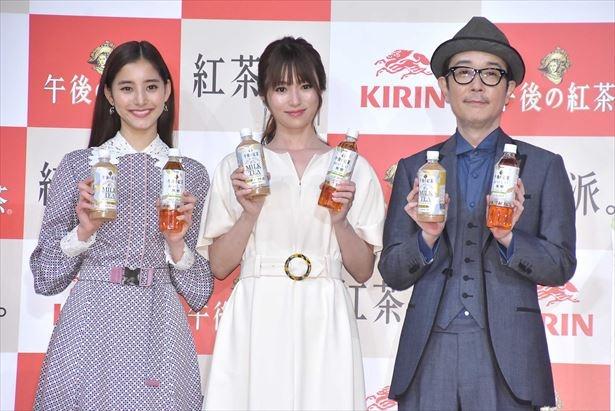 「キリン 午後の紅茶」新テレビCM発表会に出席した深田恭子、新木優子、リリー・フランキー