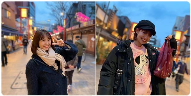 浜崎香帆(左)と脇あかり(右)が浅草で「Lovelyダンス」