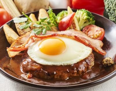 「沖縄あぐー豚ハンバーグ&国産濃厚ベーコングリル」(1299円)