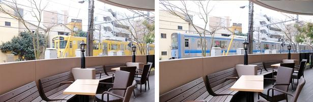西武鉄道の電車の中でもファンが多い黄色の車両(写真左)。テラス席のすぐ横を電車が通過する(同右)