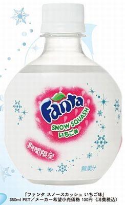 コロンと丸~いボトルがかわいい♪冬季限定「ファンタ スノースカッシュ いちご味」