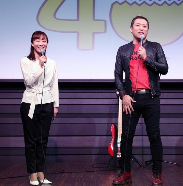 【写真を見る】はなわが、映画「翔んで埼玉」に出演したテレ玉・落合由佳アナウンサーをいじる