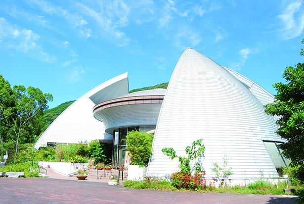 「佐賀市徐福長寿館」。徐福が佐賀で発見したと伝えられる薬草、フロフキが植栽されている
