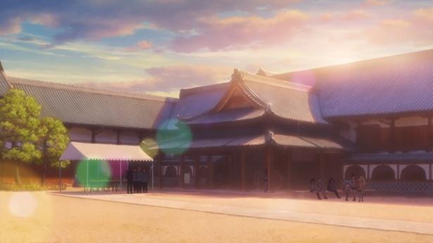 「佐賀県立佐賀城本丸歴史館」(第2話より)。大広間の外御書院(そとごしょいん)で、フランシュシュが結成後2度目のライブを行った