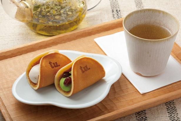 つばらつばらセット(ドリンク付き・1080円)。写真は抹茶とラムレーズン/tubara cafe