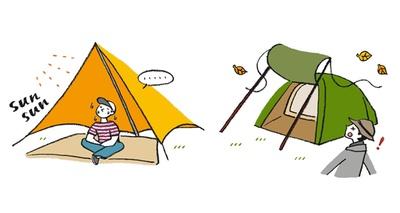 タープの下が常に日陰になり、風の影響を受けにくい場所・向きを選ぼう