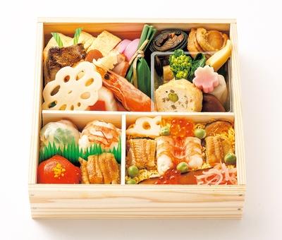 鮮度のいい魚を寿司でたっぷり味わえる「季節の折詰」(2916円)/下鴨福助・ジェイアール京都伊勢丹