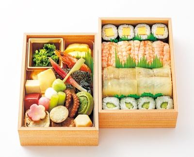 梅(2160円)。京の町の中心で培った伝統料理を2段に/田ごと・ジェイアール京都伊勢丹