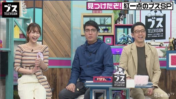 ゲストの高田秋とMCのおぎやはぎ