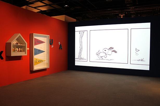 演出に使用される映像や音楽は、展示会の為に作られたオリジナル