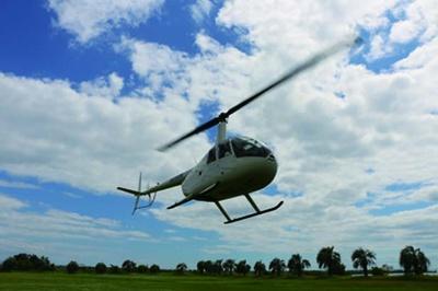【写真を見る】一面に咲き誇るネモフィラを空中から楽しめる遊覧ヘリコプター/ネモフィラ祭り2019