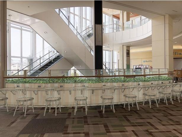 2階レストラン街に、待ち時間や買い物中の休憩などに利用できる座席30席が増設