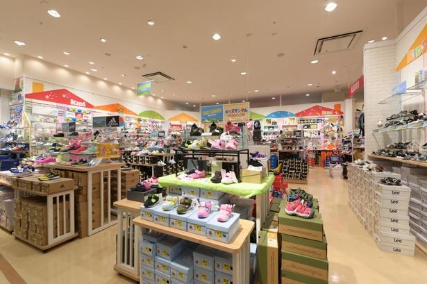 子供から大人までの靴を約2万点取りそろえた2階の「アスビー」。こちらにも子供の足のサイズを測れる計測器あり。多数あるオリジナルブランドも要チェック
