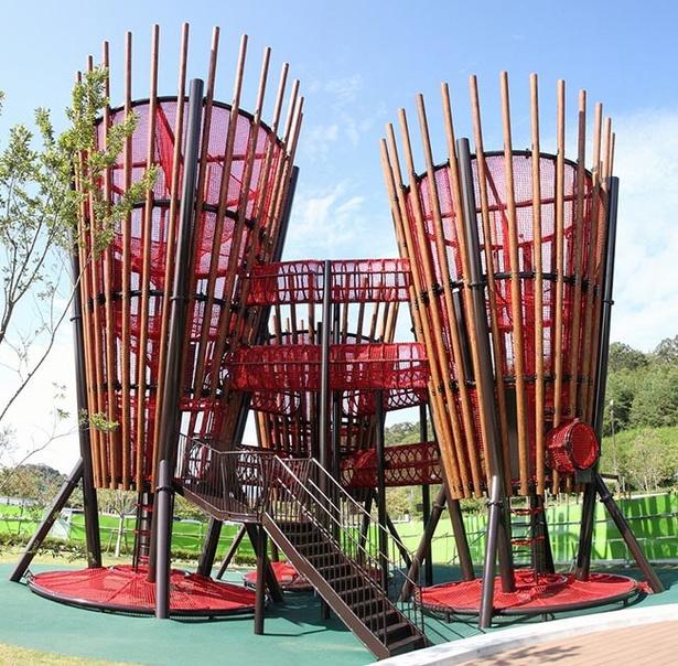 公園入口前の「大樹の遊具」は昨年10月に完成した新しい遊具