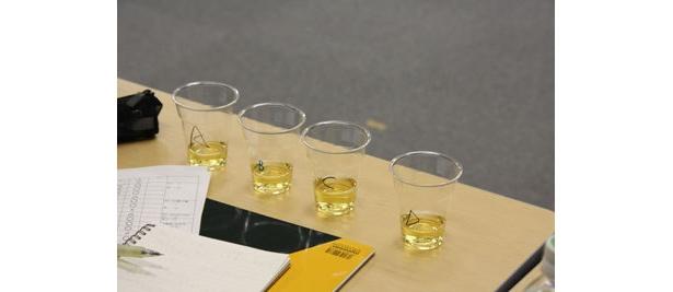 4種類の試作品を飲み比べ