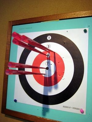 中心の白い部分が7点、その外側の赤い部分が5点、その外側の白い部分が3点、さらに外側の黒い部分が1点