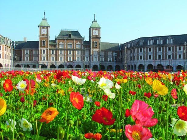 オランダ国立美術館を模した「神戸ホテル フルーツ・フラワー」前のイベント広場の花壇/道の駅 神戸フルーツ・フラワーパーク大沢
