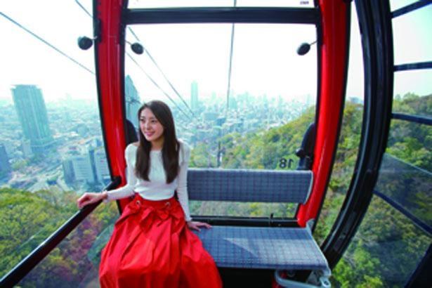 360度の大パノラマを楽しみながら山頂へ。ロープウェイは約10分/神戸布引ハーブ園
