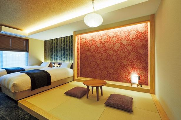 タンダードダブルやツイン、3人用和室など全部で4タイプの部屋がある/Rinn Gion Kenninji