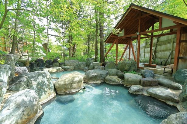 【写真を見る】森林浴と温泉を同時に楽しめる。男湯は7、女湯は9の露天風呂がある / ひらゆの森