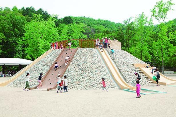 滑り台が延びる「夢の山」/宝が池公園 子どもの楽園
