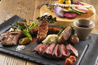 肉も野菜も食材本来の旨味が十分。肉は岩塩やマスタードなどで