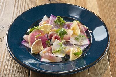 「本日の鮮魚のカルパッチョ サラダ仕立て」(1,242円)。取材時はホウボウ
