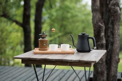 豆から挽くコーヒーセットも用意 / ホテルグリーンピア南阿蘇&ラグジュアリーキャンプ