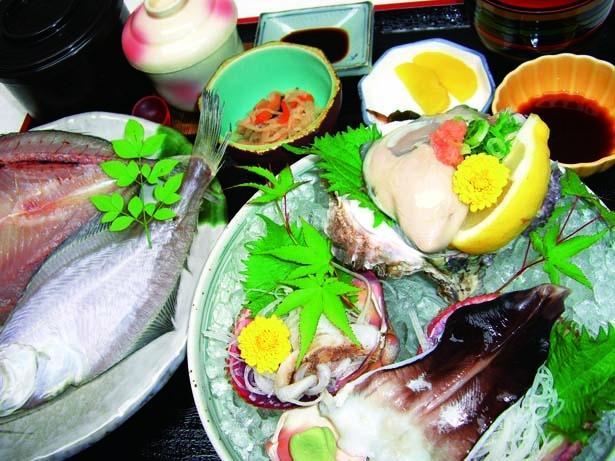 夏季限定メニュー・岩がきととり貝ご膳(3670円)/松和物産-海楽味-