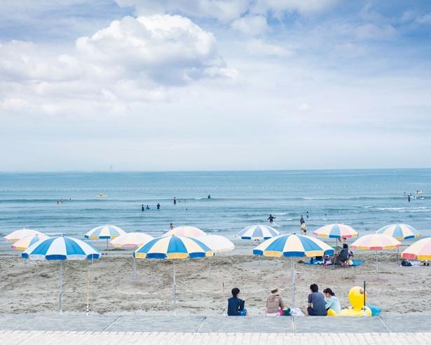 海の家で受付する砂浜の有料ゾーン / 青島海水浴場