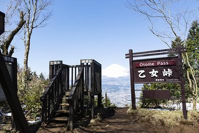 30分ほど歩くと乙女峠へ到着。見晴らし台に登って富士山を撮影しよう