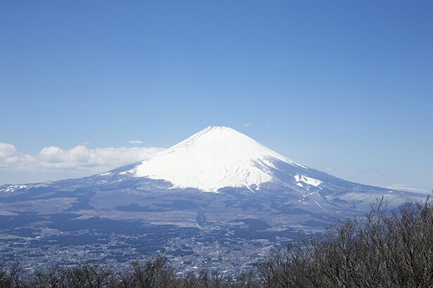 天気がいいと大きな富士山が見える。空気が澄んでいる午前中に登るのがオススメ