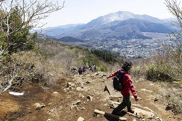 下山は歩きやすい道が続くが、滑りやすい場所もあるので注意して