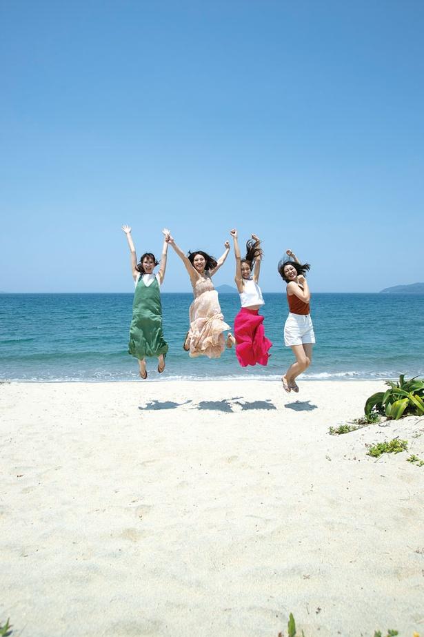 深江海水浴場の白砂のビーチ / 深江海水浴場