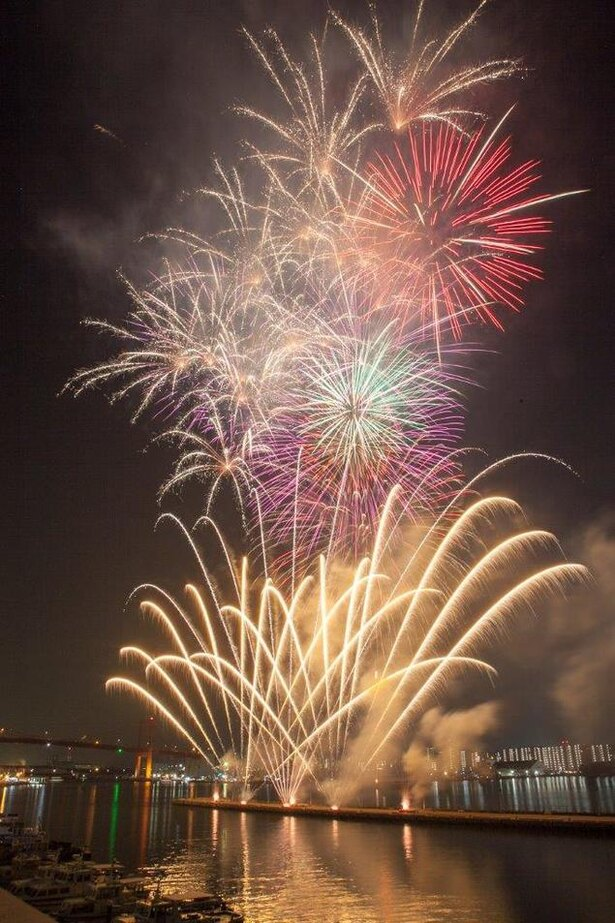 【写真を見る】全長260mのナイアガラが若戸大橋にかかる / くきのうみ花火の祭典