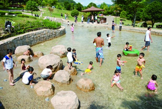 岩を配した下流は広々としている。水鉄砲などを持参して楽しもう/兵庫県立一庫公園